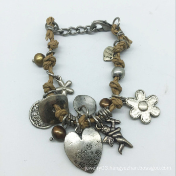 Heart Drop Leather Thread Alloy Parts Bracelet (XBL13561)